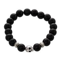 Dee Berkley Mens Genuine Black Agate Bead Skull Stretch Bracelet