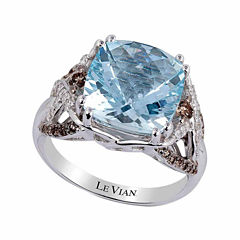 LIMITED QUANTITIES! Levian Corp Le Vian Womens 1/2 CT. T.W. Blue Aquamarine 14K Gold Cocktail Ring