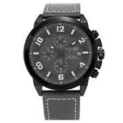 SO & CO NY Mens Monticello Chronograph Gray Genuine Leather Strap Sport Quartz Watch J159P41
