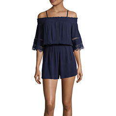 Fire Short-Sleeve Off-the-Shoulder Gauze Romper