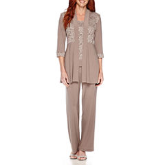 R&M Richards Long-Sleeve Glitter Lace Jacket and Formal Pant Suit Set