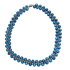7-8Mm Cultured Freshwater Blue Pearl Sterling Silver Necklace