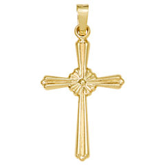 14K Yellow Gold Textured Cross Charm Pendant