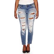 Blue Spice Destructed High-Rise Skinny Jeans - Juniors Plus