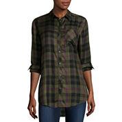 Arizona Long-Sleeve Boyfriend Plaid Shirt - Juniors