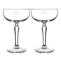 Cathy's Concepts Set of 2 Mr. & Mrs. Champagne Coupe Toasting Flutes