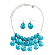 Mixit™ Blue Stone Silver-Tone Necklace and Earring Set