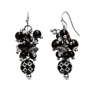 Aris by Treska Silver-Tone Black Crystal Drop Earrings