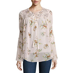i jeans by Buffalo Long Sleeve Floral Lace Up Peasant Top