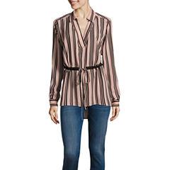 i jeans by Buffalo Long Sleeve Draw Tie Tunic Top