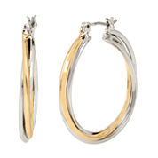 Worthington® Two-Tone Twist Hoop Earrings