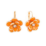 Mixit™ Orange and Gold-Tone Flower Earrings