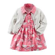 Carter's® 2-pc. Short-Sleeve Dress & Cardigan Set - Baby Girls newborn-24m