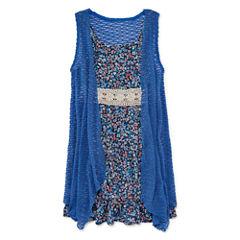 Arizona 2-pc. Sleeveless Floral Dress and Vest - Girls 7-16