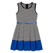 Total Girl® Sleeveless Stripe Cobalt Border Belted Skater Dress - Girls 7-16 and Plus