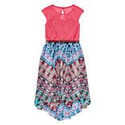 Speechless® Multi Aztec Lace Chiffon High-Low-Hem Dress - Girls 7-16