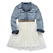 Weavers Chambray Long-Sleeve Belted Ballerina Shirtdress - Girls 7-16