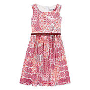 Speechless® Sleeveless Multi Coral Aztec Lace Belted Skater Dress - Girls 7-16