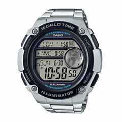 Casio World Time Mens Silver Tone Bracelet Watch-Ae3000wd-1av