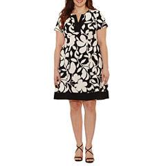 Robbie Bee Short Sleeve Floral Fit & Flare Dress-Plus