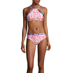 Social Angel Floral High Neck Swimsuit Top or Hipster Bottom-Juniors