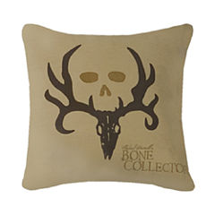 Bone Collector Square Brown Throw Pillow