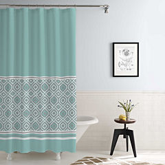 Pacific Coast Textiles Waterproof Oxford Stripe Printed Shower Curtain