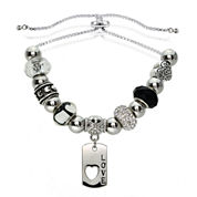 Dazzling Designs™ Adjustable Love Charm Bracelet