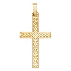 14K Yellow Gold Polished Cross Charm Pendant