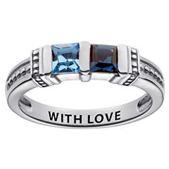Personalized Engravable Two Birthstone Ring