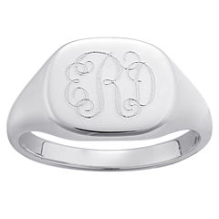 Personalized Sterling Silver Script Monogram Ring