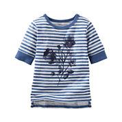 OshKosh B'Gosh® Half-Sleeve Sparkle Stripe Shirt - Preschool Girls 4-6x