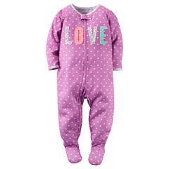 Carter's® Girl Long-Sleeve Love Dot Footed Pajamas - Baby Girls newborn-24m