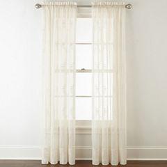 Liz Claiborne® Lisette Ogee Embroidery Sheer Rod-Pocket Curtain Panel