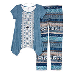 Knit Works Short-Sleeve Crochet Front Legging Set w/ Necklace - Girls' 7-16 and Plus