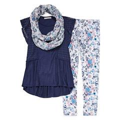 SE Crochet Flutter Sleeve Legging Set w/ Scarf - Girls' 7-16