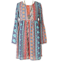 Speechless Long Sleeve Bell Sleeve Peasant Dress - Big Kid Girls Plus