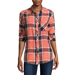 Arizona Long-Sleeve Boyfriend Plaid Shirt-Juniors
