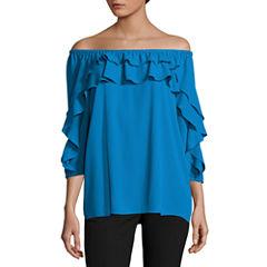 Worthington 3/4 Sleeve T-Shirt-Womens Petites