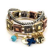 Decree® 3-pc. Elephant, Cross, Moon Beaded Stretch Bracelet Set