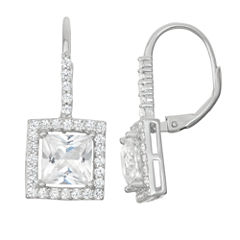 Lab-Created White Sapphire & White Sapphire Sterling Silver Leverback Earrings