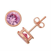 Lab-Created Pink Sapphire 14K Rose Gold Over Silver Stud Earrings