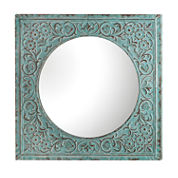 Blue Stamped Floral Wall Mirror