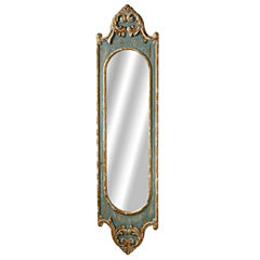 Distressed Blue Scroll Long Wall Mirror