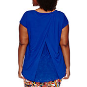 Liz Claiborne® Short-Sleeve Extended-Shoulder Butterfly Back Tee - Plus