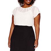 Liz Claiborne® Short-Sleeve Pleatneck Metallic Dot Blouse with Cami - Plus