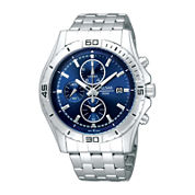 Pulsar® Mens Stainless Steel Blue Chronograph Watch PF8397