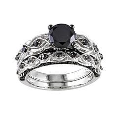 Midnight Black Diamond 1 3/8 CT. T.W. Color-Enhanced Black Diamond 10K White Gold Bridal Set