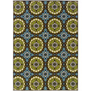 Covington Home Floral Medallion Blue Indoor/Outdoor Rectangular Rug