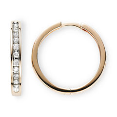 1/3 CT. T.W. Diamond 10K Rose Gold Hoop Earrings